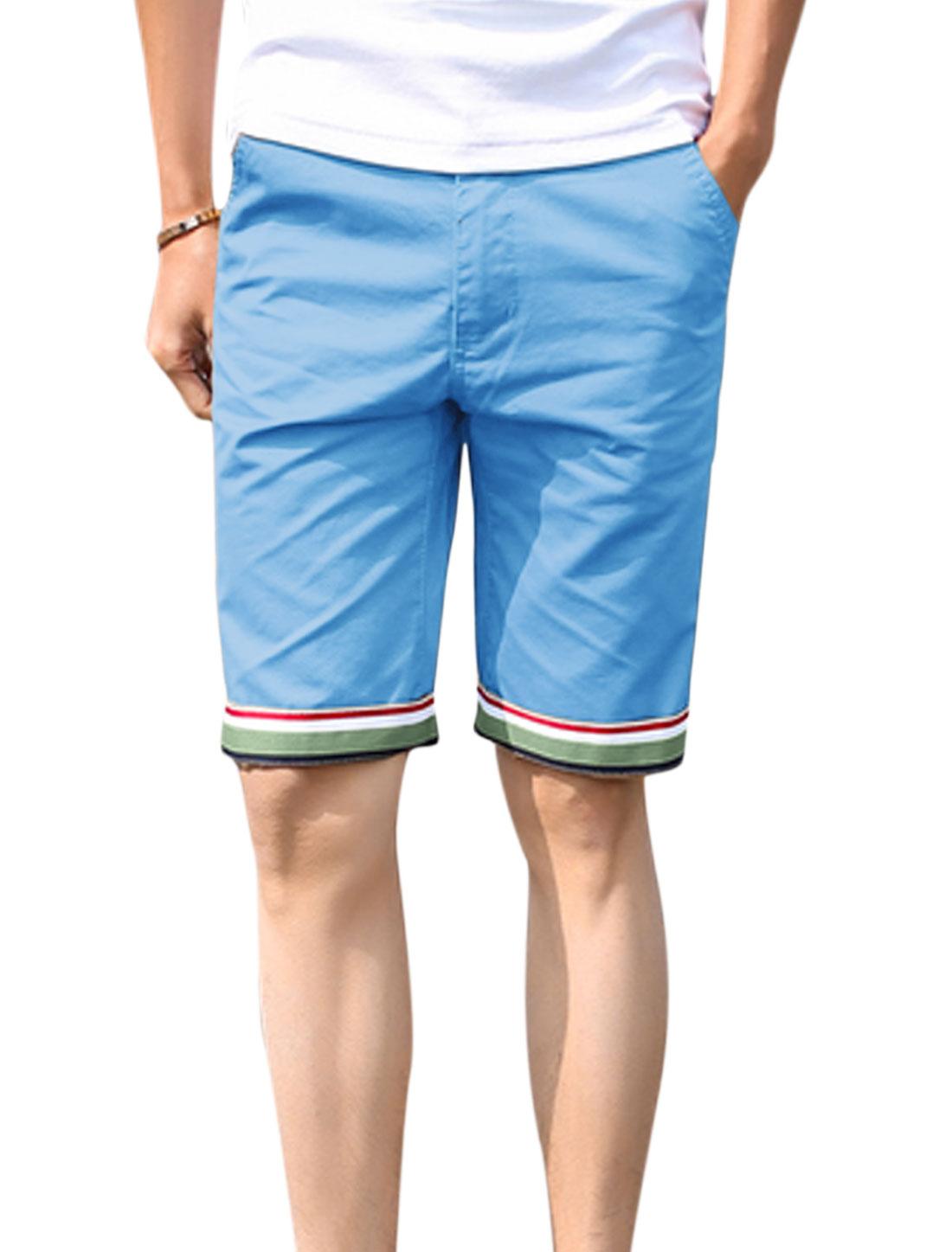 Man Mid Rise Belt Loop Slant Pockets Zip Fly Casual Shorts Blue W30