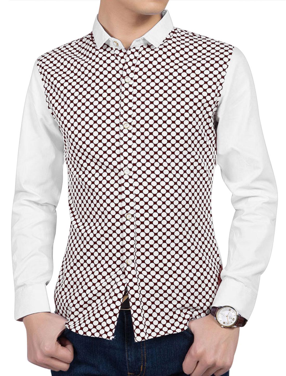 Man Polka Dots Prints Turn Down Collar Long Sleeves Casual Shirts Burgundy White M