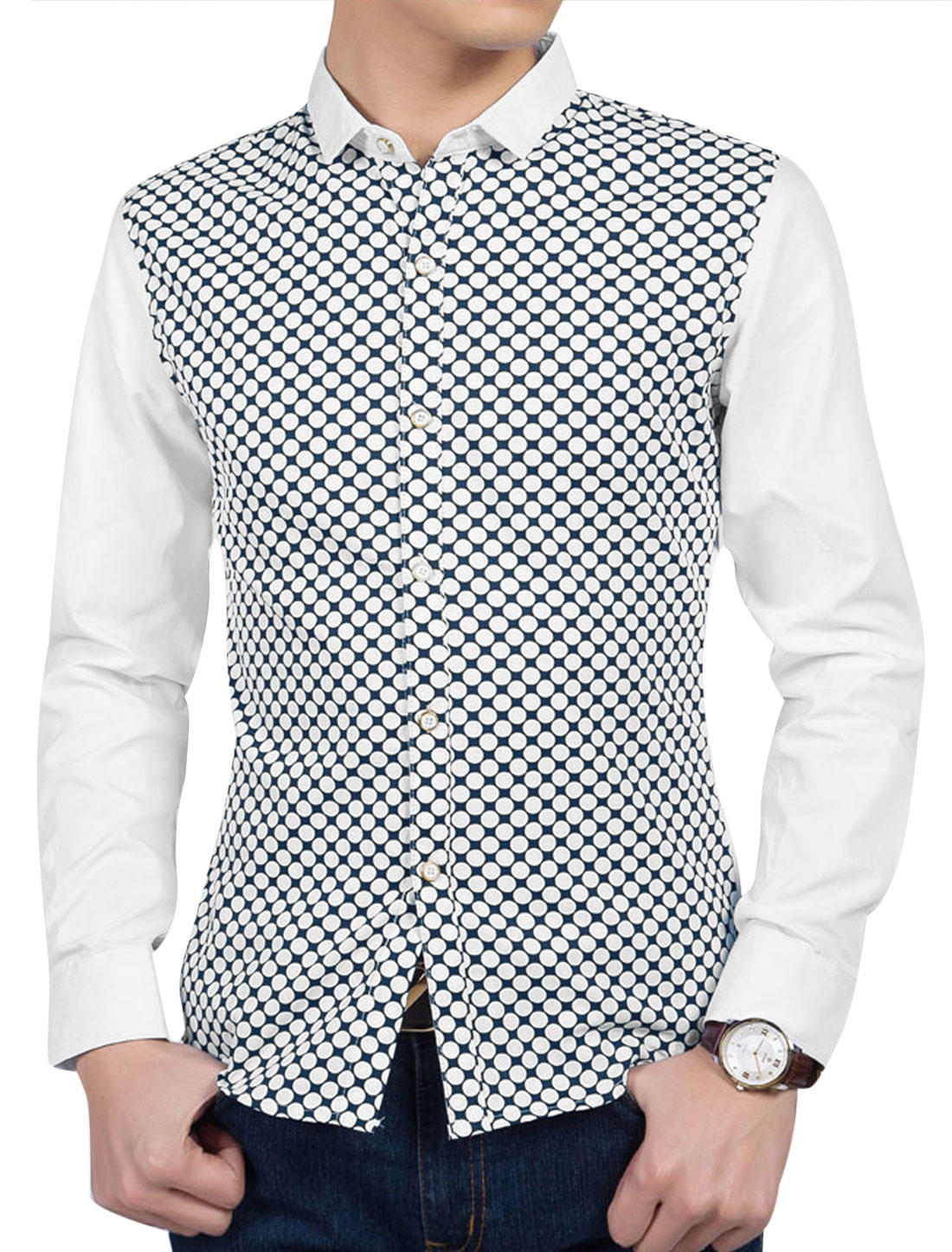 Man Polka Dots Prints Long Sleeves Slim Fit Casual Shirts Navy Blue White M