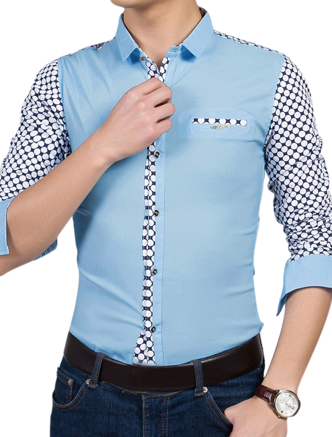 Men Point Collar Long Sleeves Dots Button Closed Casual Shirts Sky Blue M