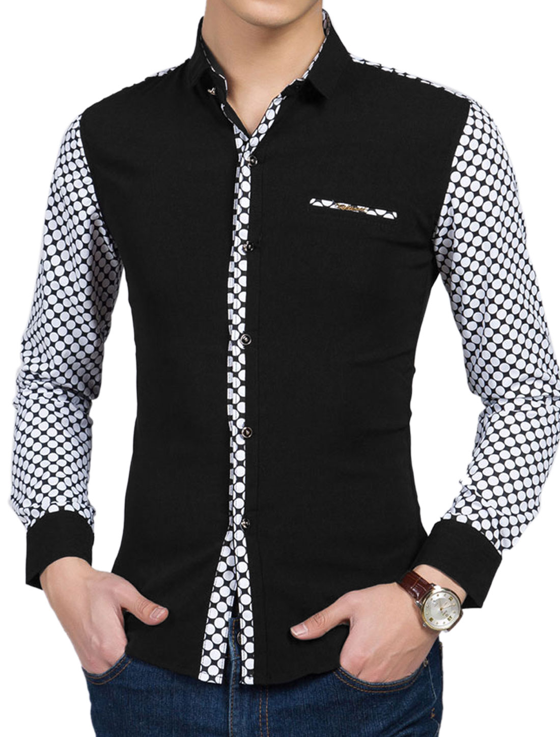 Man Point Collar Dots Long Sleeves Button Down Shirts Black M