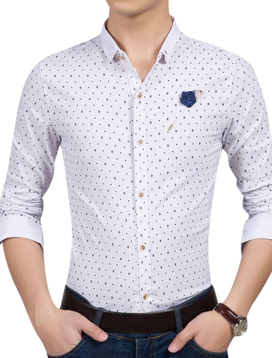Man Novelty Dots Prints Long Sleeves Button Down Casual Shirt w Brooch White M