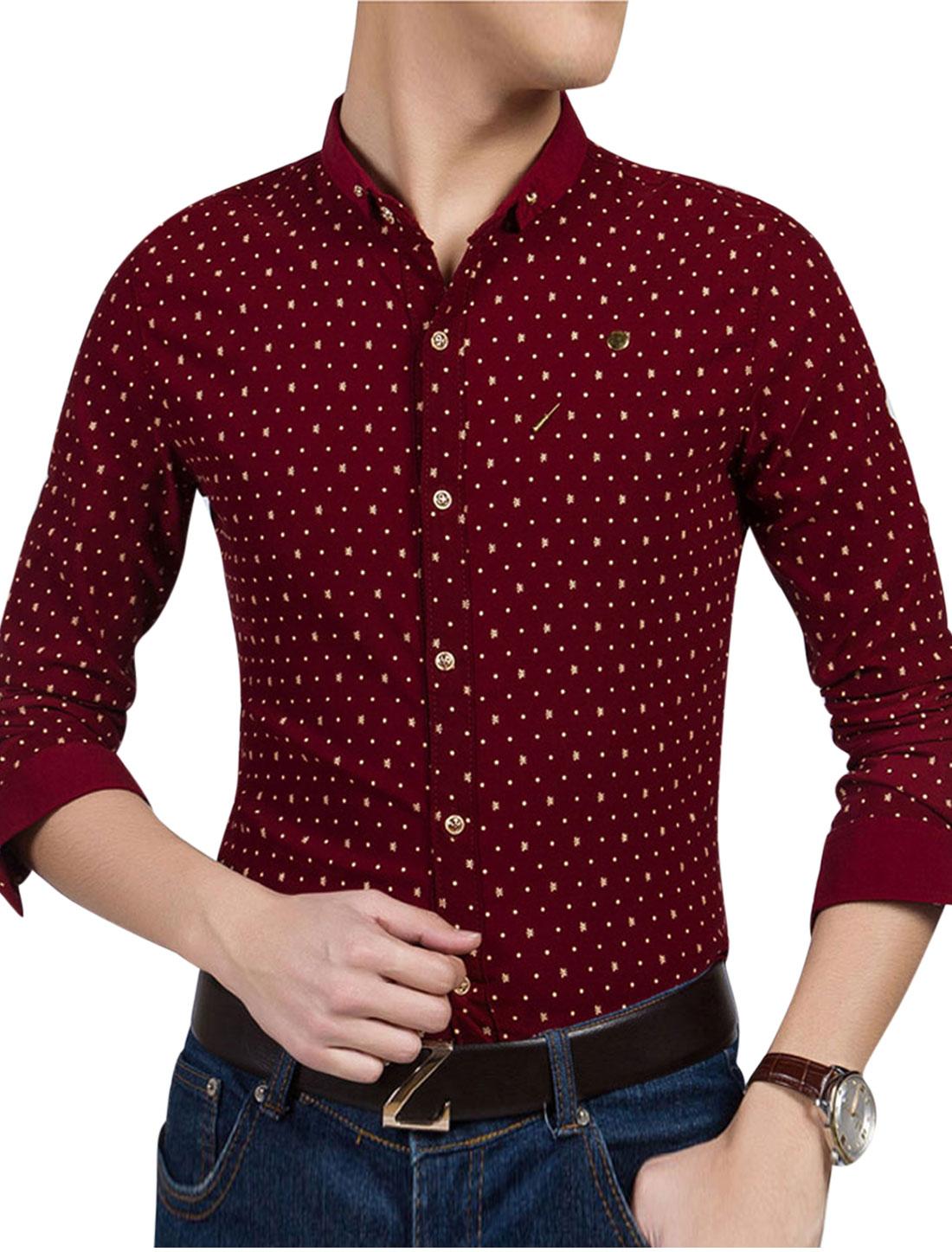 Man Novelty Dots Prints Long Sleeves Slim Fit Casual Shirt w Brooch Bufgundy M