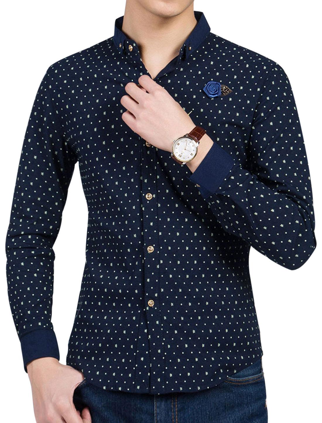Man Novelty Dots Prints Turn Down Collar Casual Shirt w Brooch Navy Blue M