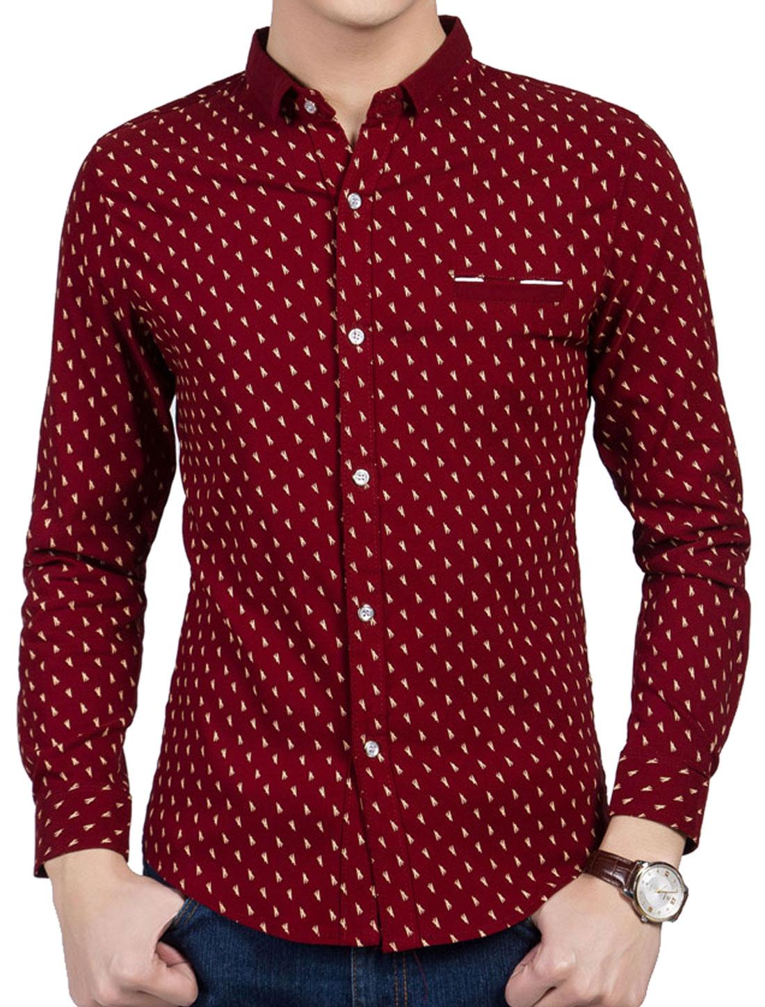 Men Button Down Point Collar Novelty Print Slim Fit Shirts Burgundy M