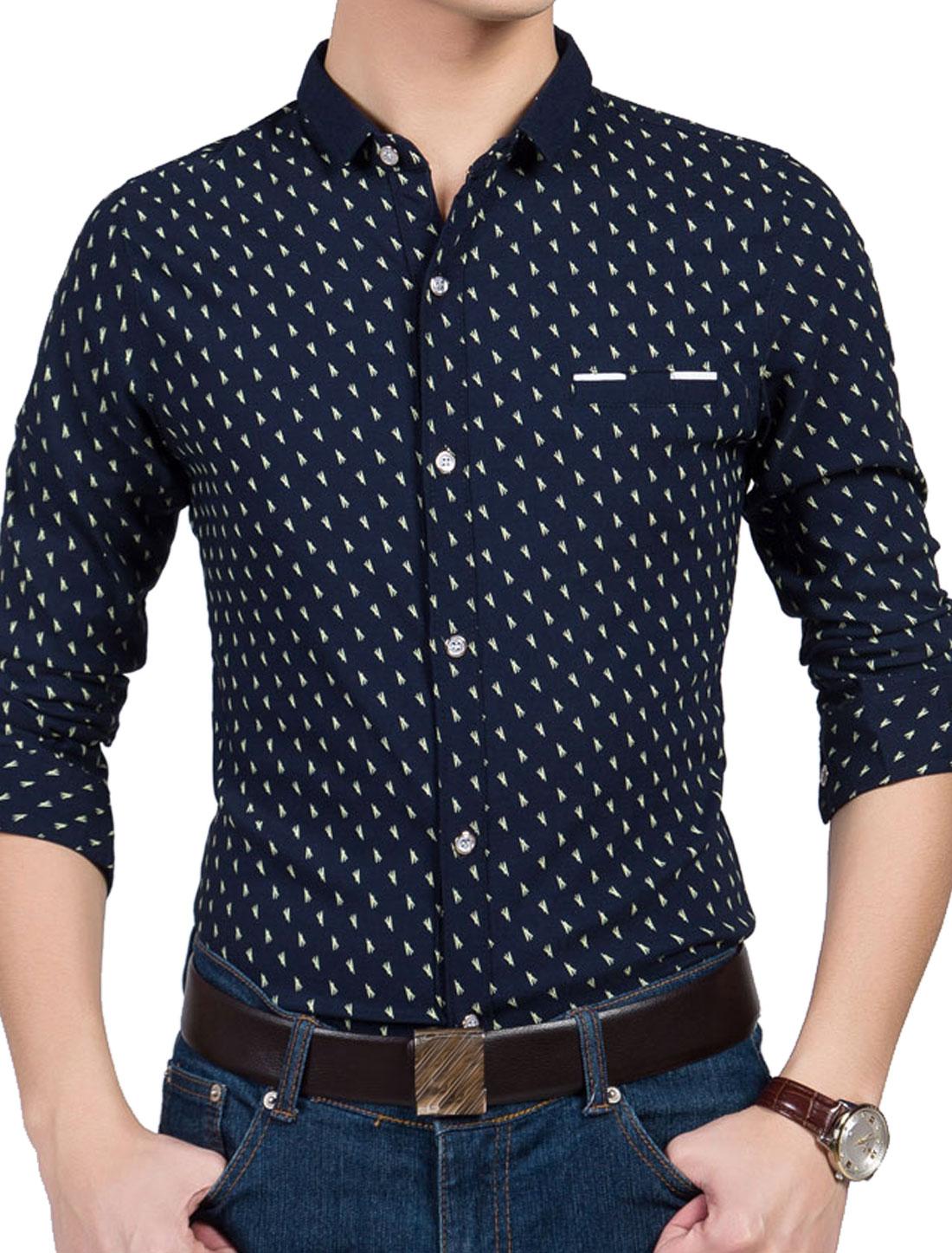 Men Button Down Long Sleeve Point Collar Novelty Print Shirts Navy Blue M