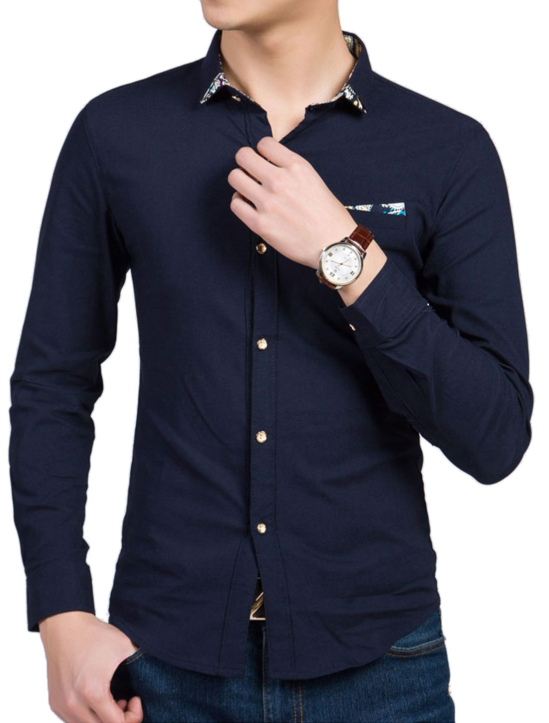 Men Long Sleeve Point Collar Button Down Casual Shirt Navy Blue M
