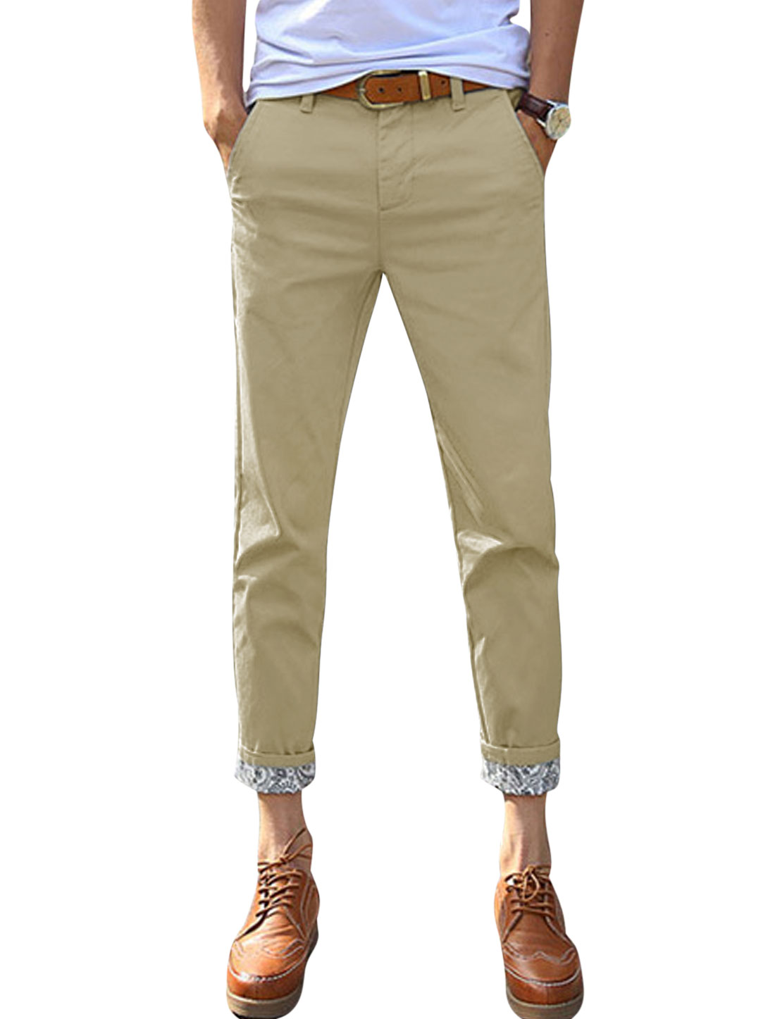 Man Jacquard Design Detail Mid Rise Belt Loop Slim Fit Cropped Pants Khaki W32