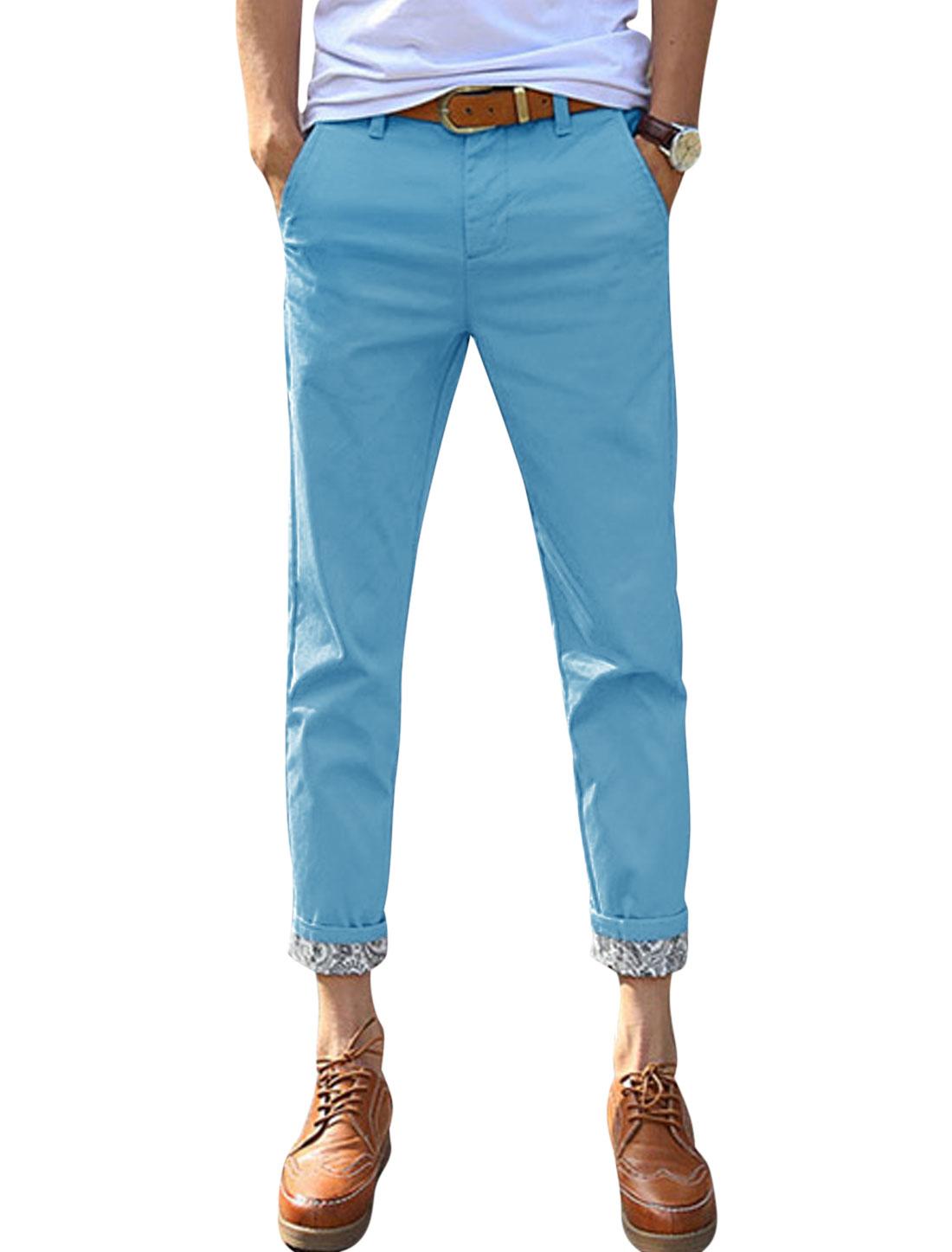 Men Jacquard Design Detail Belt Loop Slim Fit Casual Cropped Pants Light Blue W32