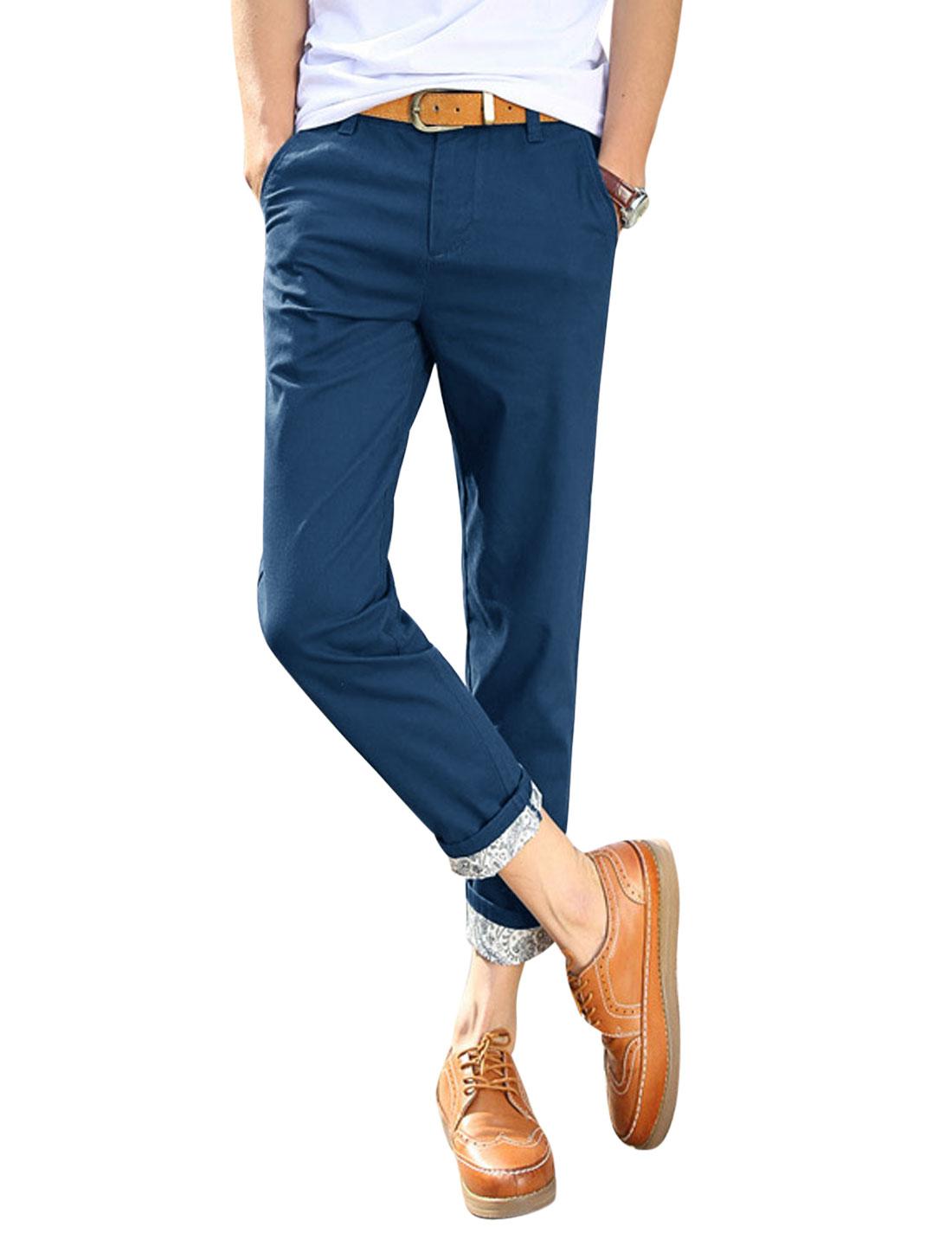 Man Jacquard Design Detail Mid Rise Zip Fly Slim Fit Cropped Pants Dark Blue W32