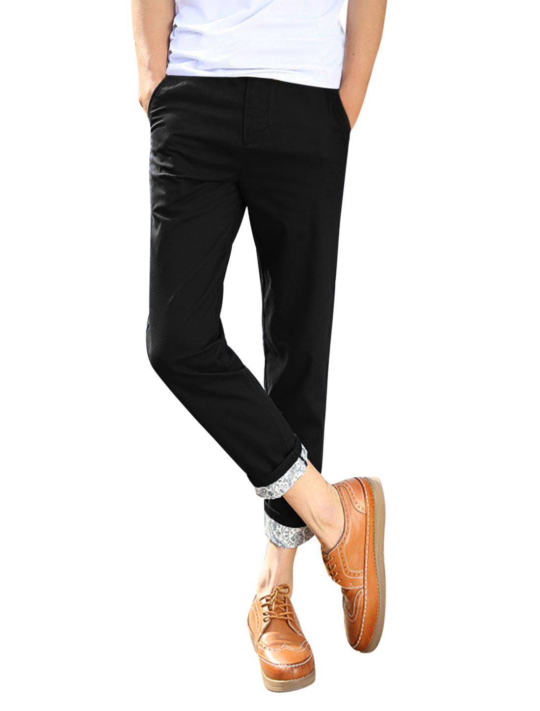 Man Jacquard Design Detail Mid Rise Leisure Slim Fit Cropped Pants Black W32
