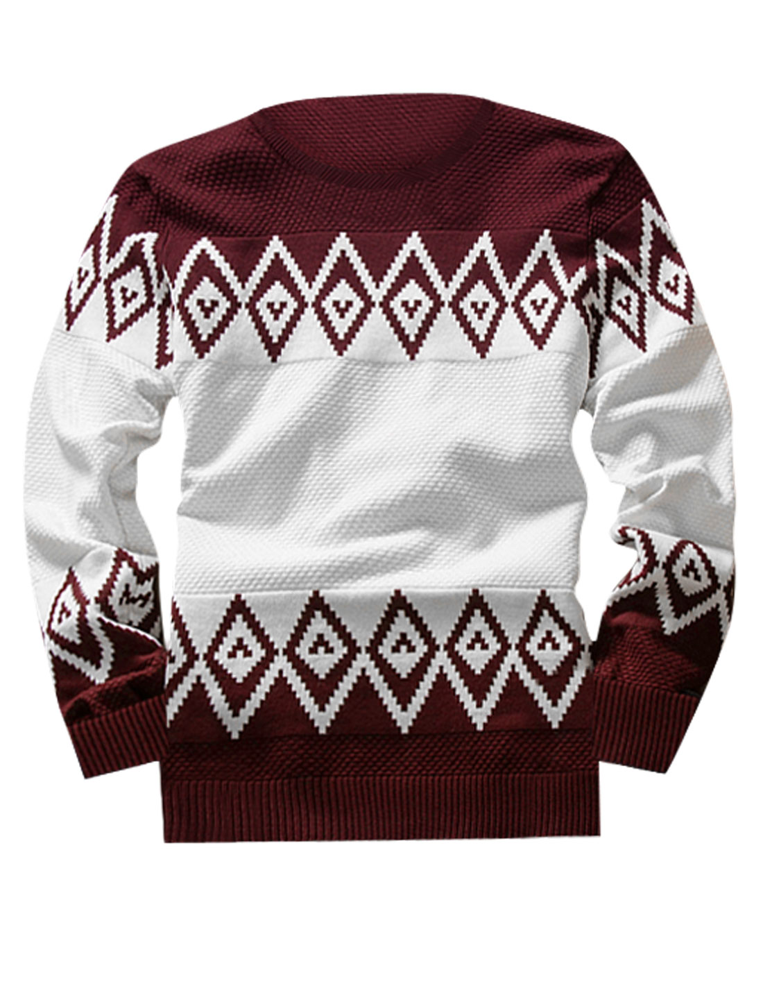 Man Crew Neck Argyle Prints Pullover Knitted Shirts Burgundy White M