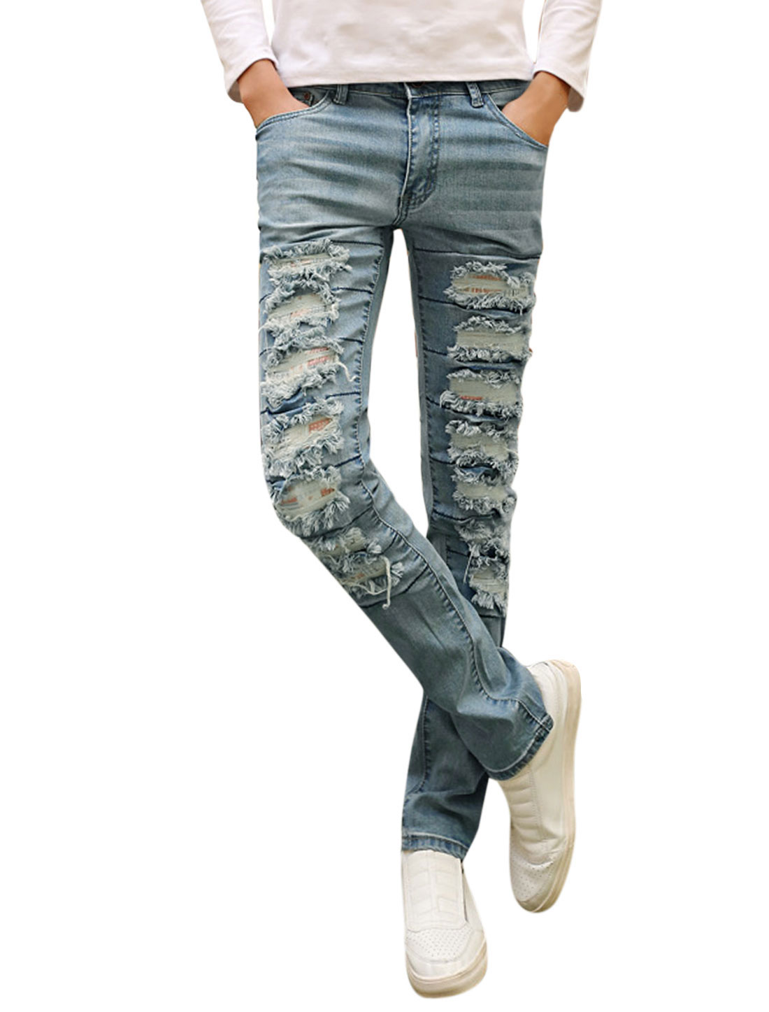 Man Natural Waist Mid Rise Destroyed Design Casual Jeans Blue W30