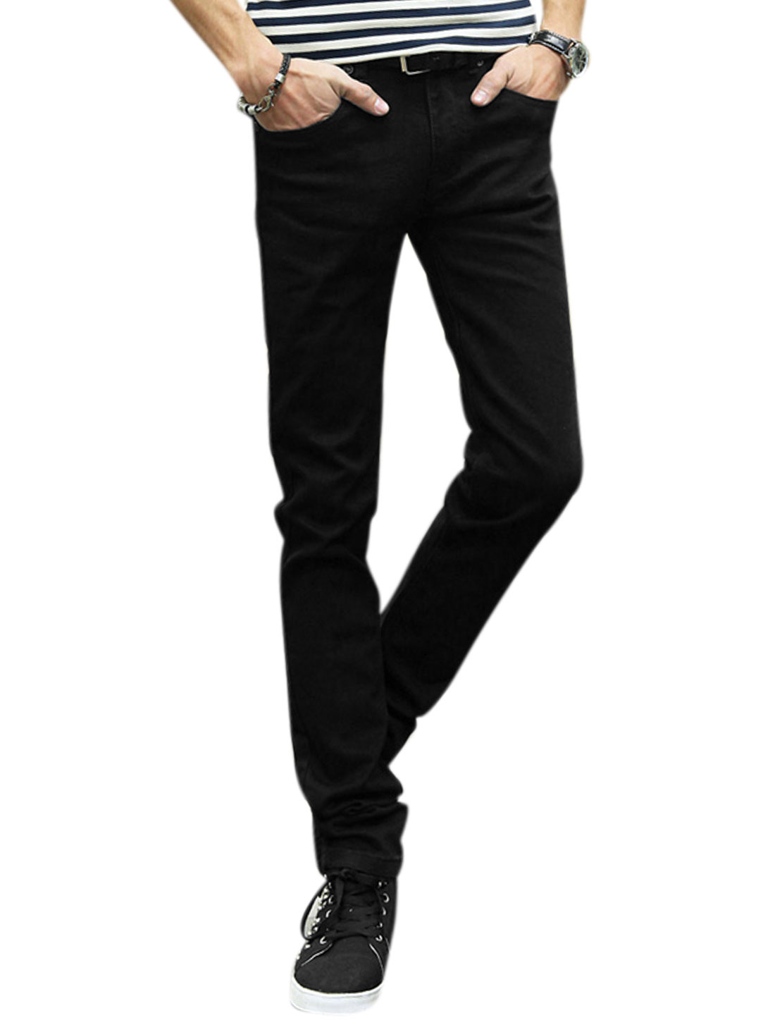 Men Mid Rise Two Slant Pockets Natural Waist Casual Pants Black W30
