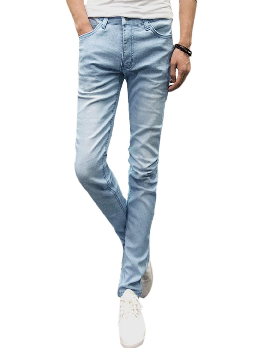 Men Mid Rise Zip Fly Classic Five Pockets Belt Loop Casual Jeans Light Blue W32