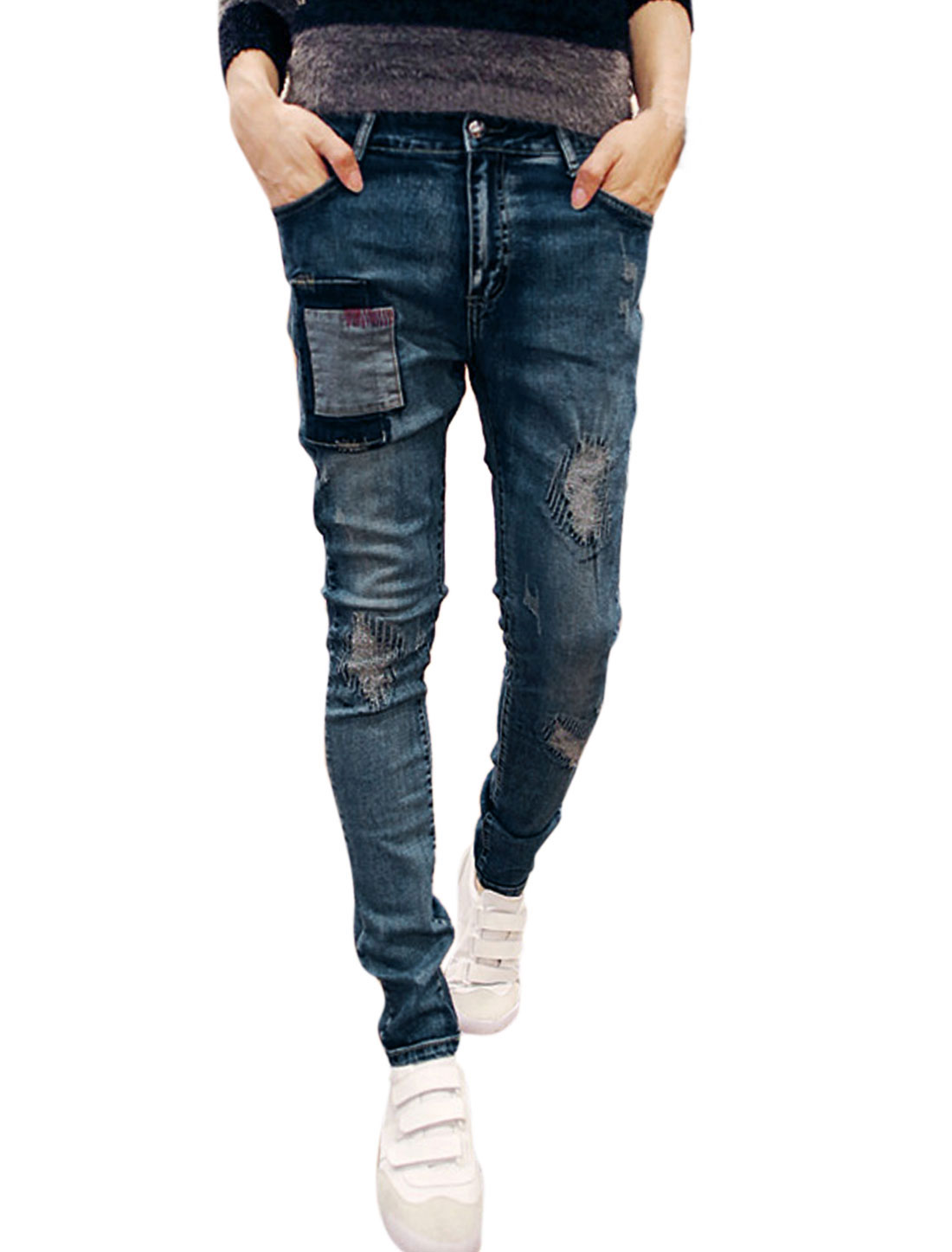 Man Distressed Patched Mid Rise Belt Loop Skinny Jeans Blue W30