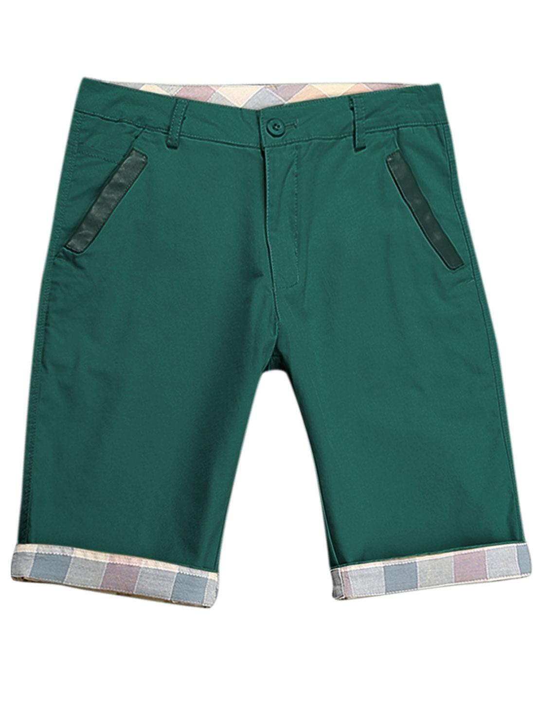 Men Argyle Pattern Detail Belt Loop Slant Pockets Leisure Shorts Dark Green W32