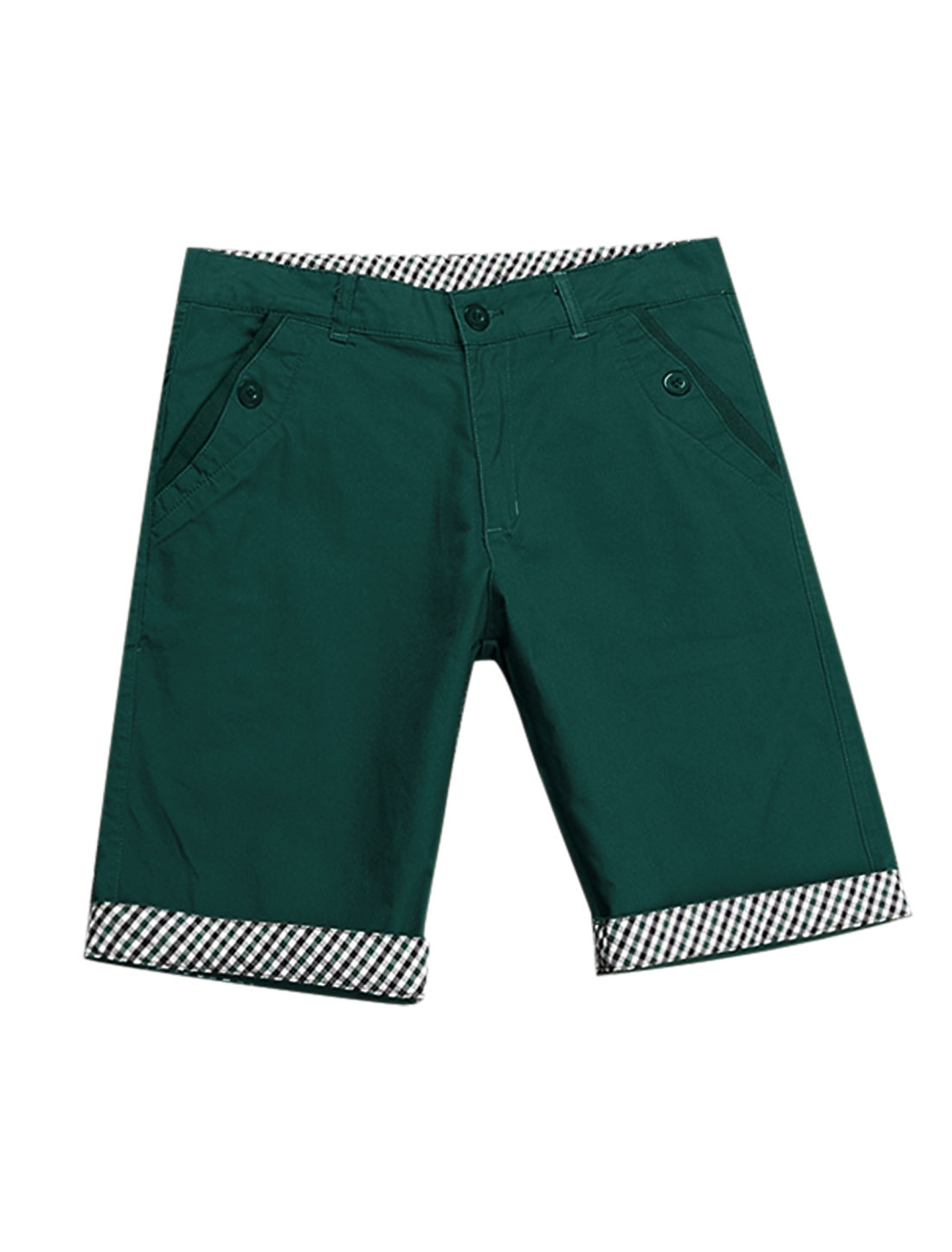 Man Mid Rise Plaids Detail One Button Closure Zip Fly Casual Shorts Dark Green W32
