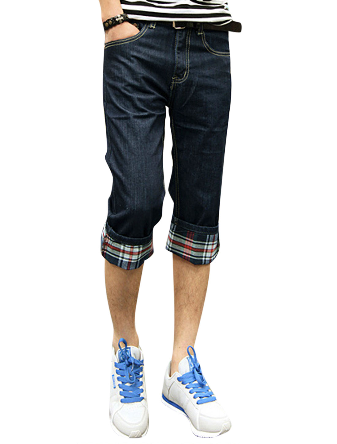 Men Mid Rise Checks Roll Up Cuffs Casual Capri Jeans Navy Blue W30
