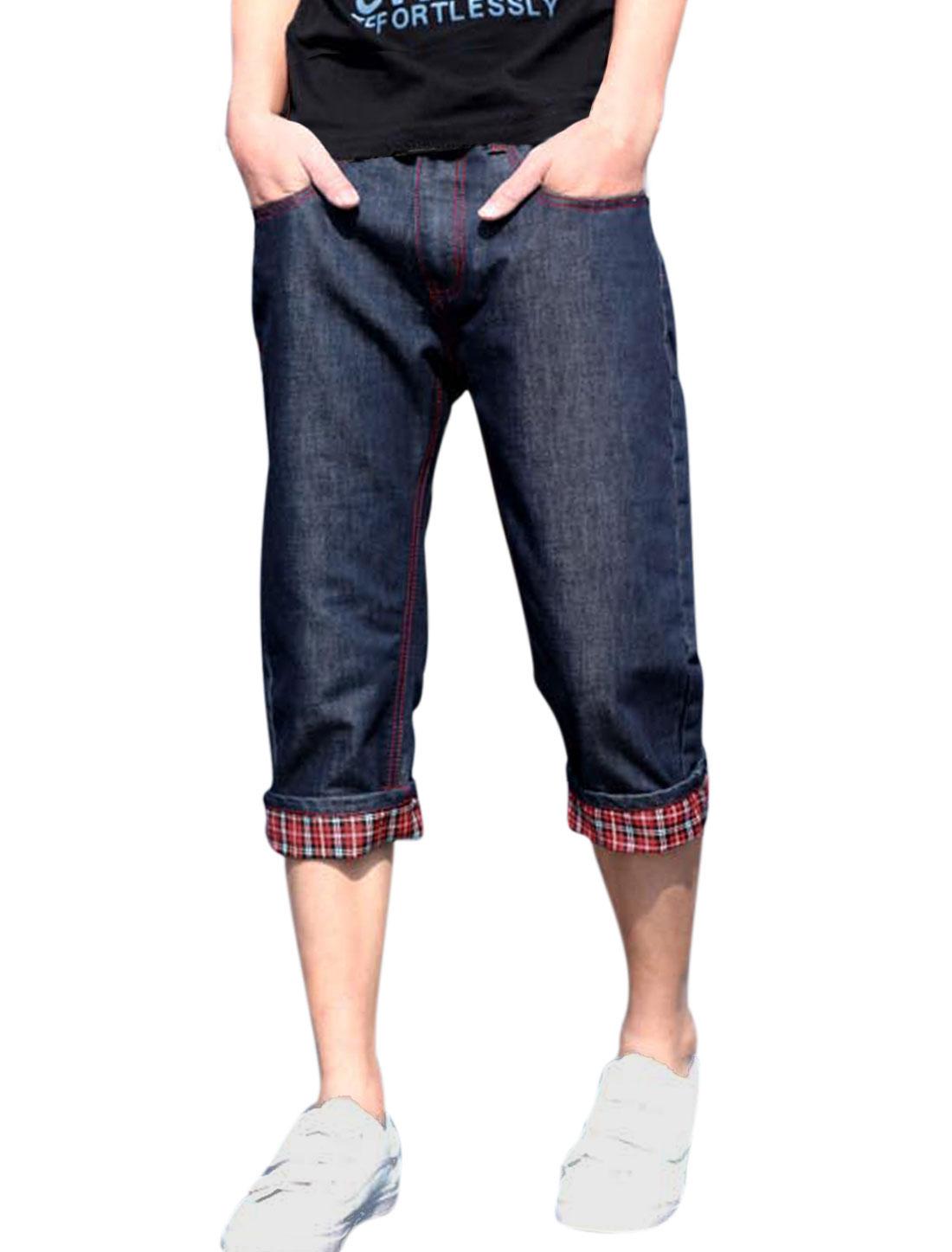 Man Plaids Detail Mid Rise Zipper Decor Belt Loop Capris Jeans Blue W32