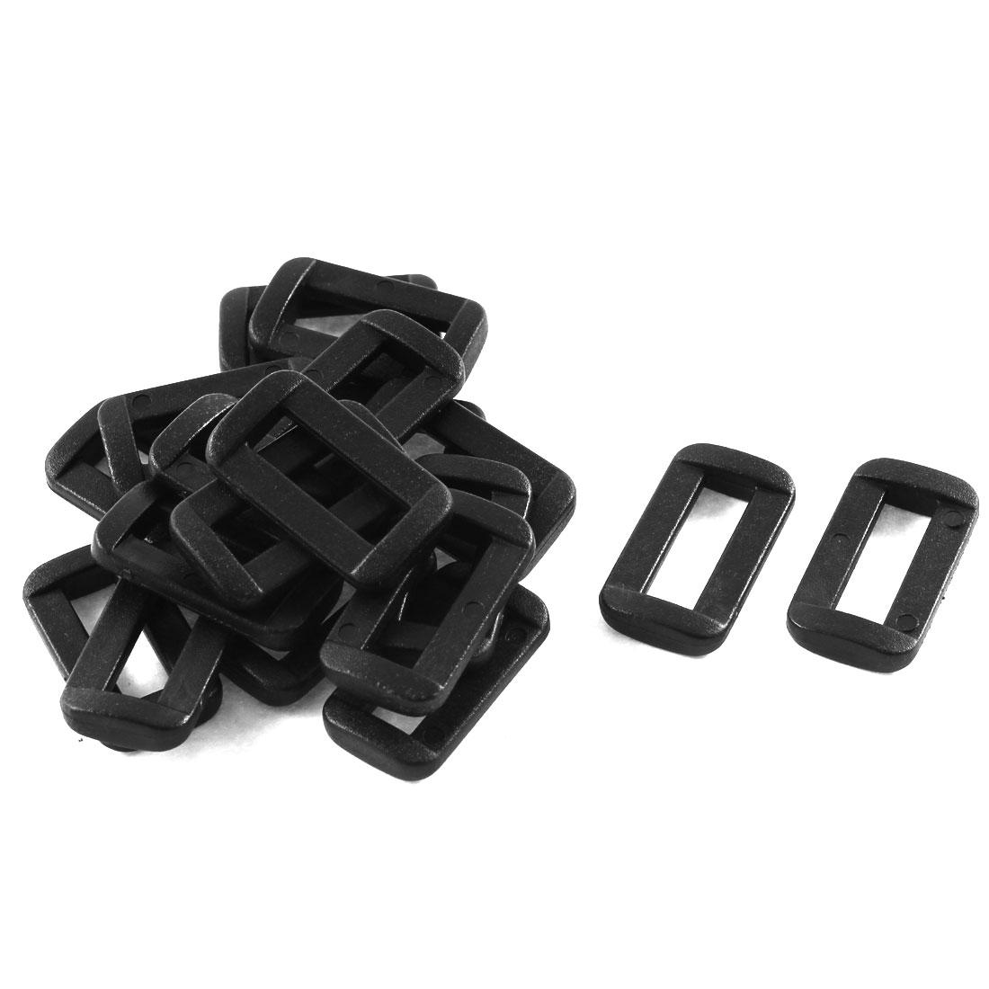 20pcs Black Plastic Bar Slides Buckles for 15mm Webbing Strap