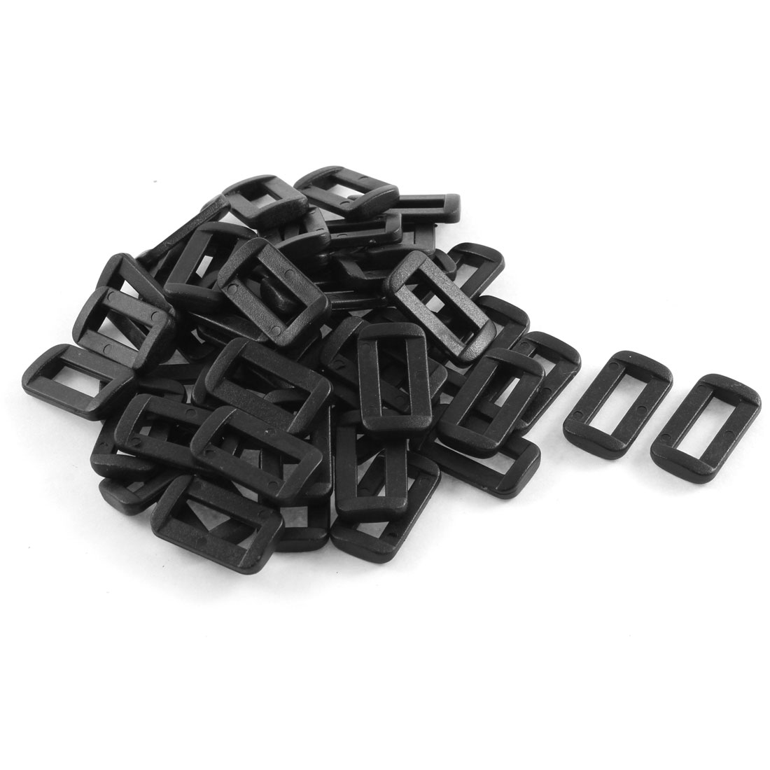 50pcs Black Plastic Bar Slides Buckles for 15mm Webbing Strap