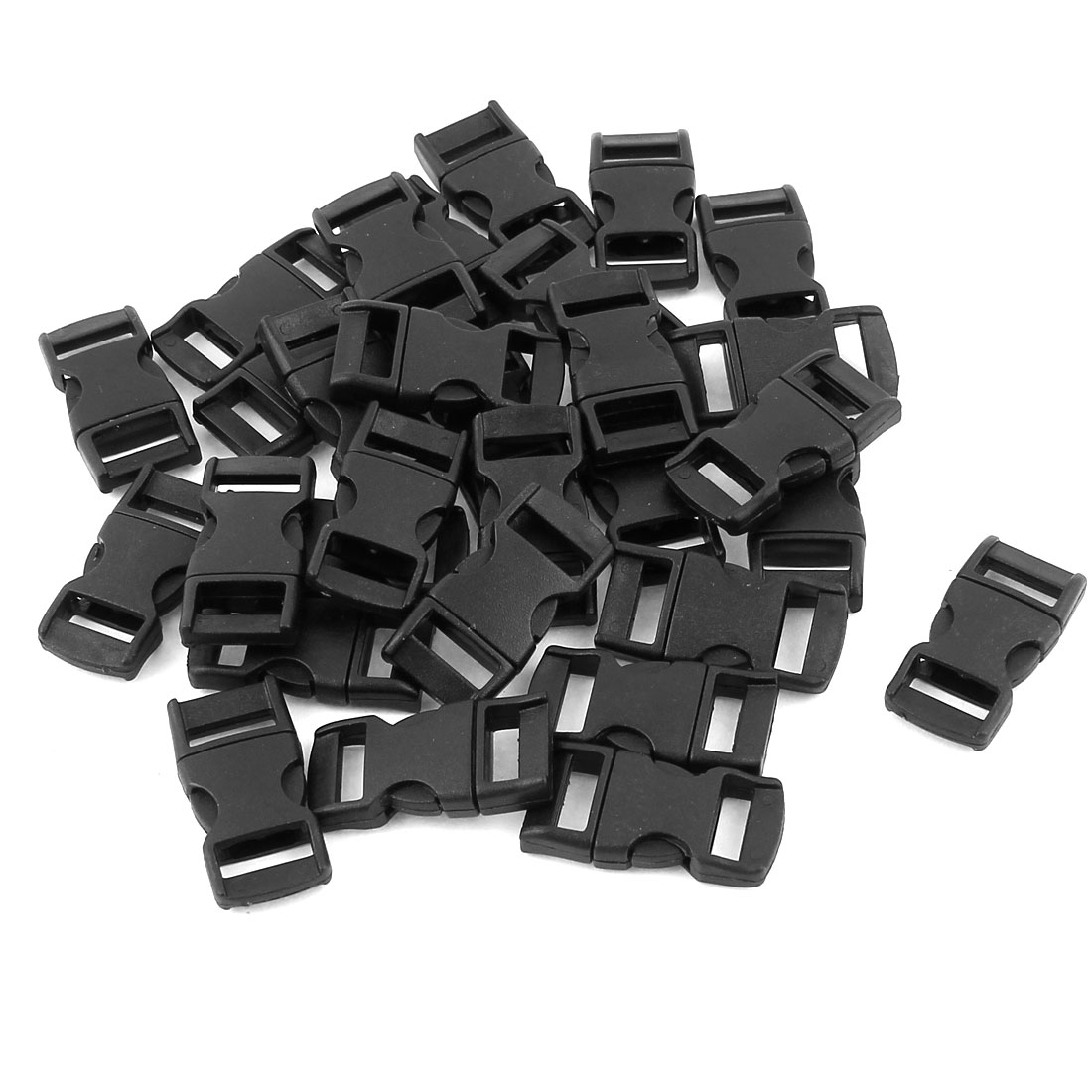30 Pcs 10mm Webbing Straps Plastic Clasp Side Quick Release Buckle Black