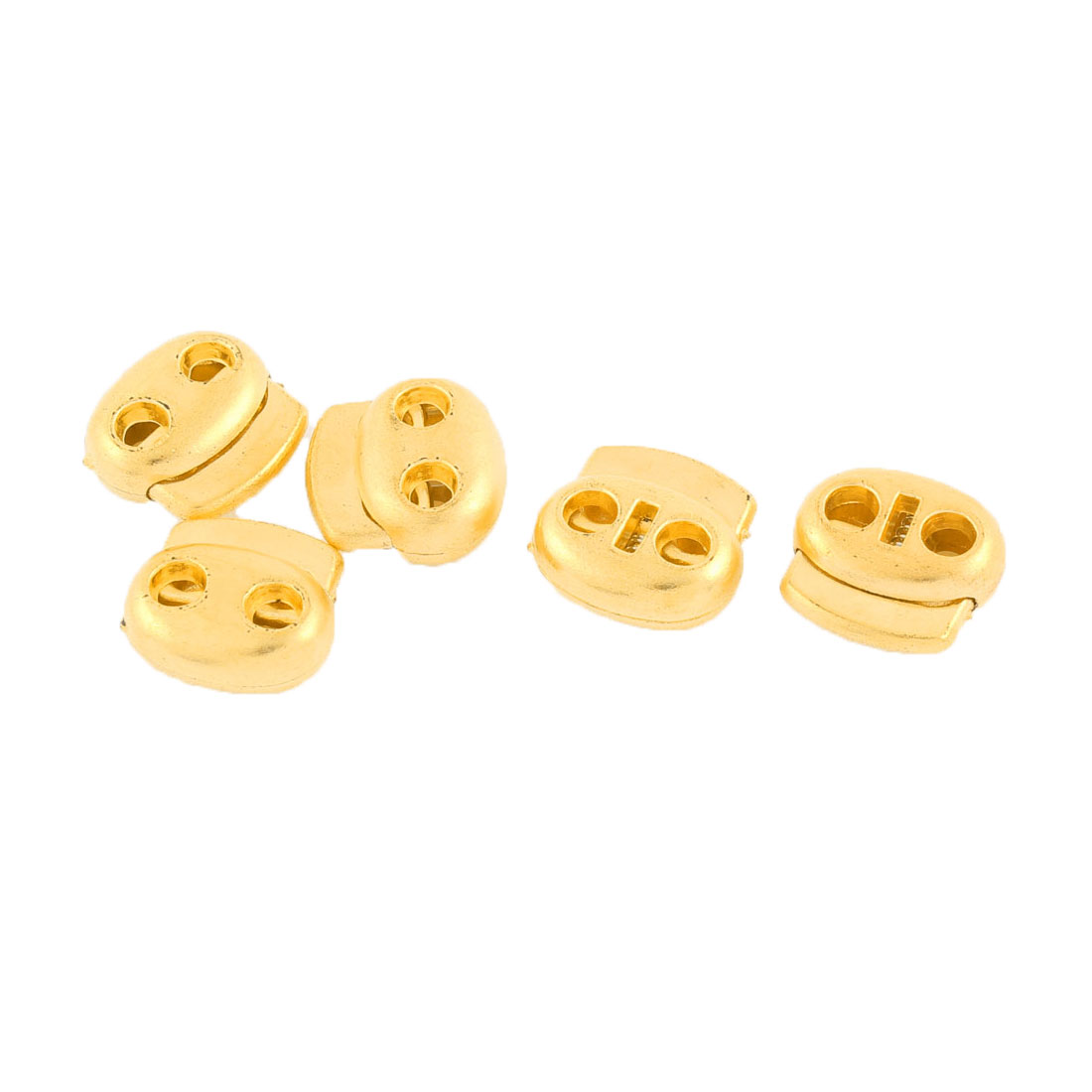 5 Pcs Double Holes Cord Lock Stopper Toggles Spring Adjuster Fastener Gold Tone