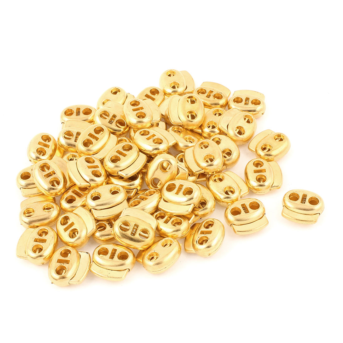 50 Pcs Dual Holes Cord Lock Stopper Toggles Spring Adjuster Fastener Gold Tone