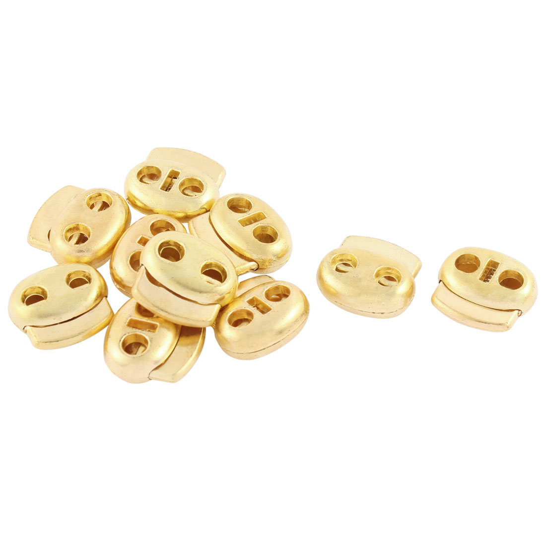 10 Pcs Double Holes Cord Lock Stopper Toggles Spring Adjuster Fastener Gold Tone