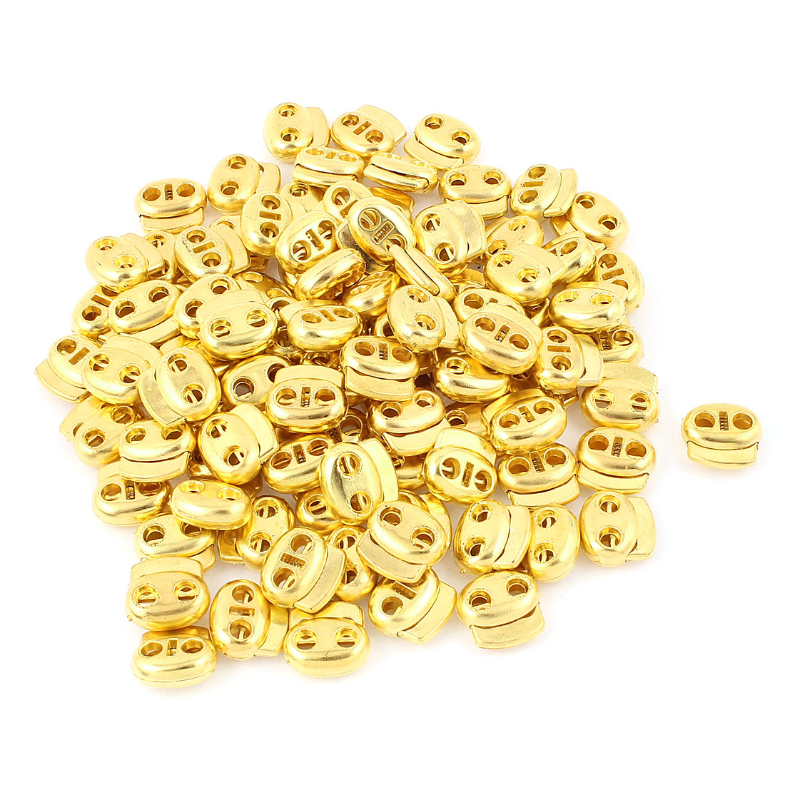 100 Pcs Dual Holes Cord Lock Stopper Toggles Spring Adjuster Fastener Gold Tone