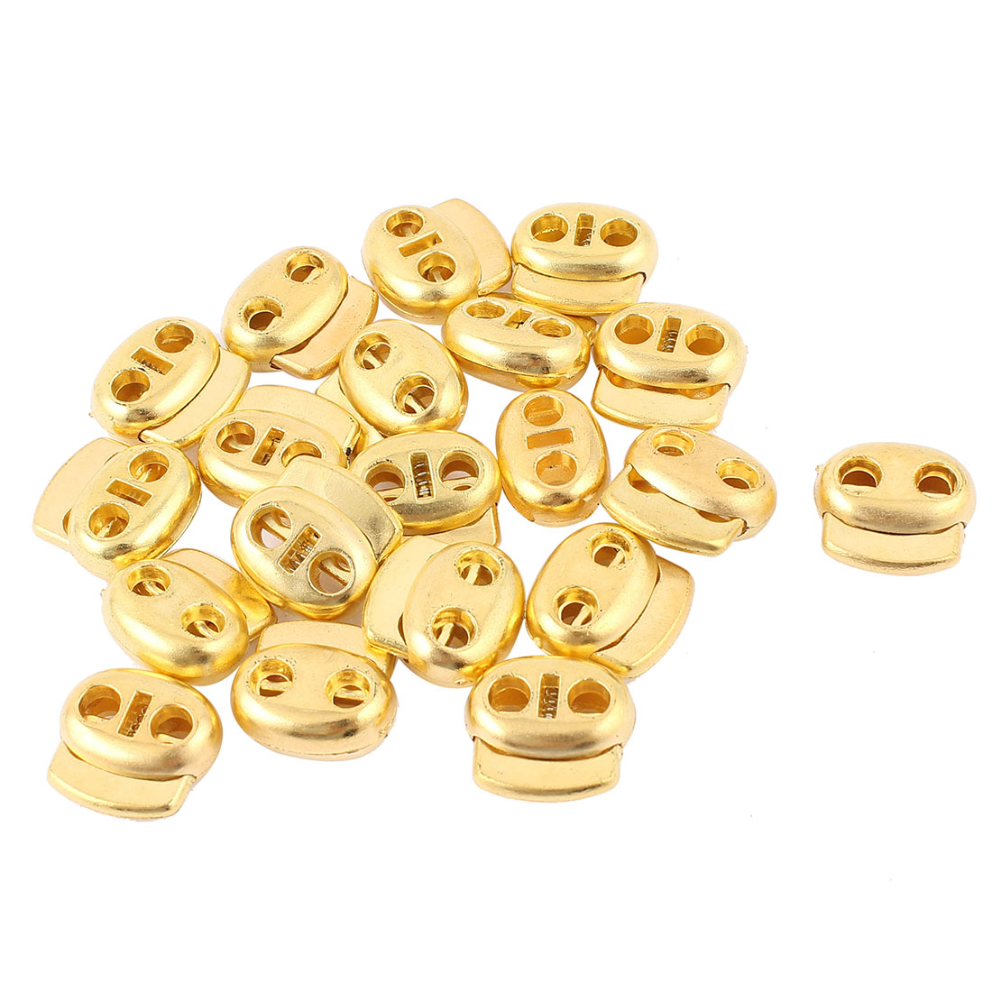 20 Pcs Dual Holes Cord Lock Stopper Toggles Spring Adjuster Fastener Gold Tone