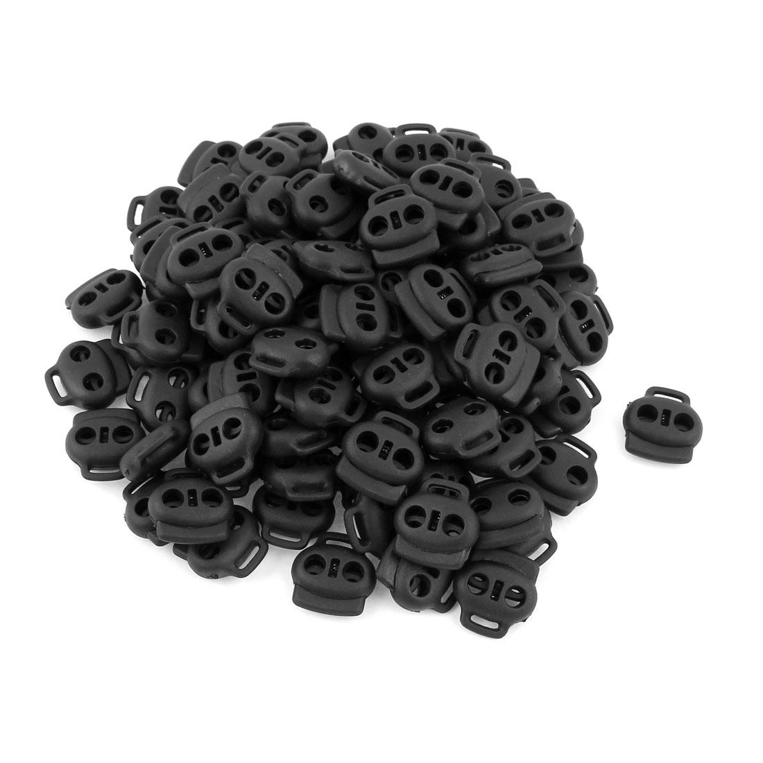 100 Pcs Dual Holes Cord Lock Stopper Toggles Spring Adjuster Fastener Black