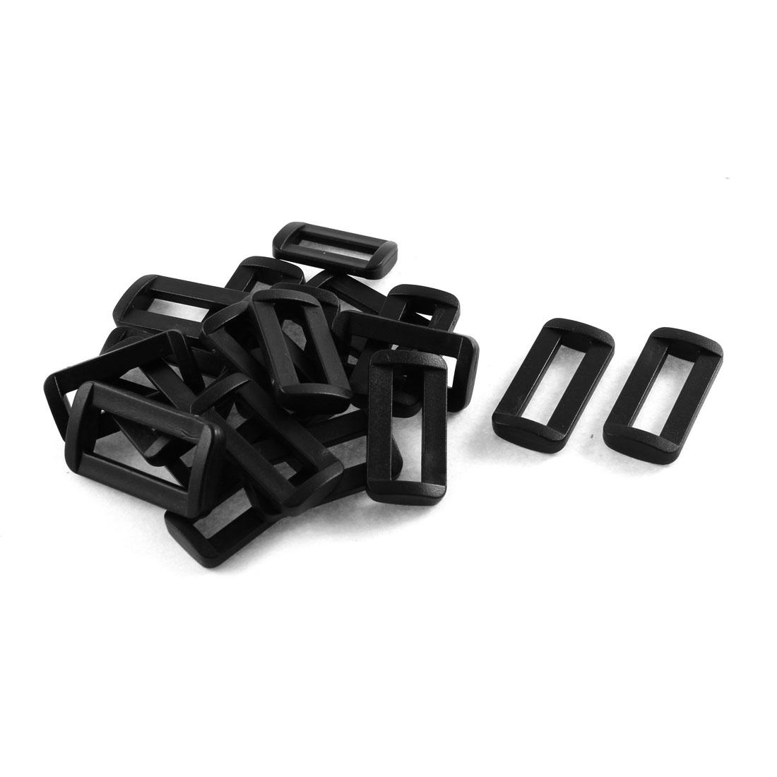 20pcs Black Plastic Bar Slides Buckles for 2.5cm Webbing Strap