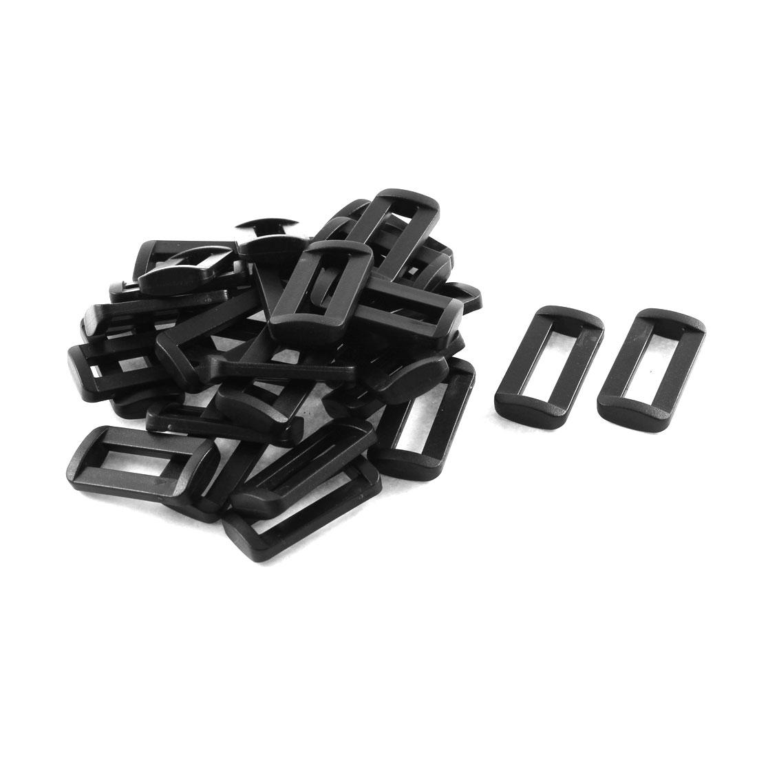 30pcs Black Plastic Bar Slides Buckles for 25mm Webbing Strap