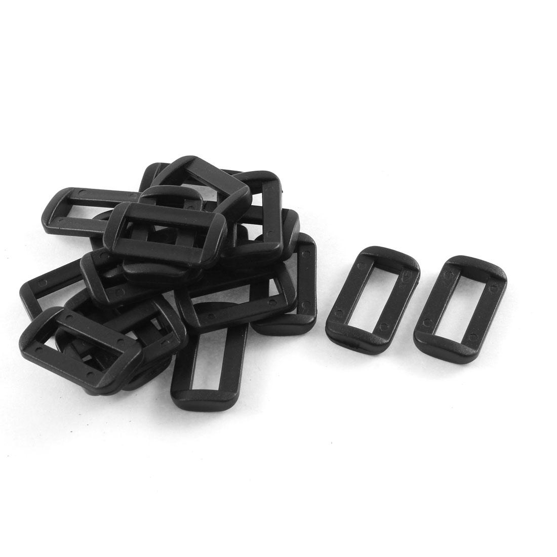 20pcs Black Plastic Bar Slides Buckles for 20mm Webbing Strap