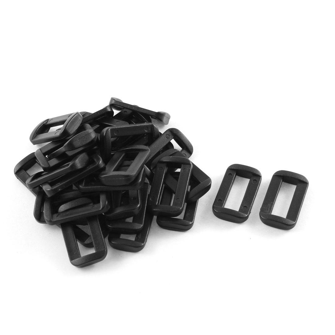 30pcs Black Plastic Bar Slides Buckles for 2cm Webbing Strap
