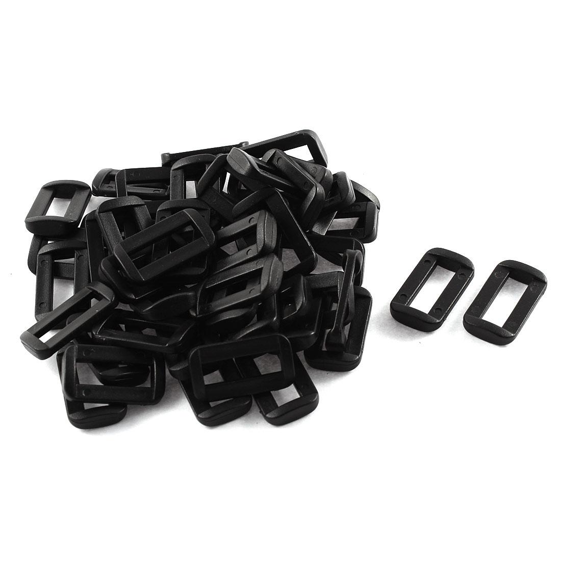 50pcs Black Plastic Bar Slides Buckles for 20mm Webbing Strap