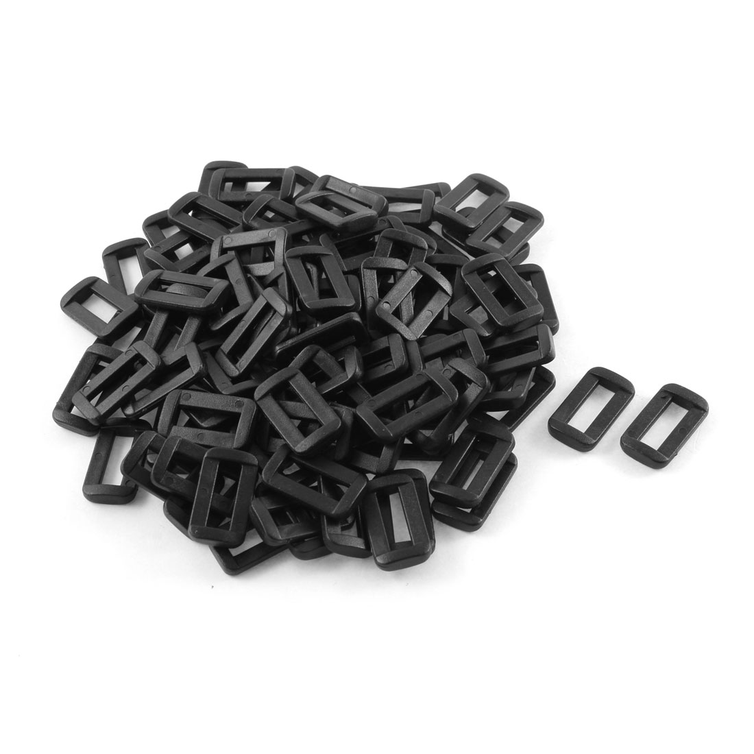 100pcs Black Plastic Bar Slides Buckles for 15mm Webbing Strap