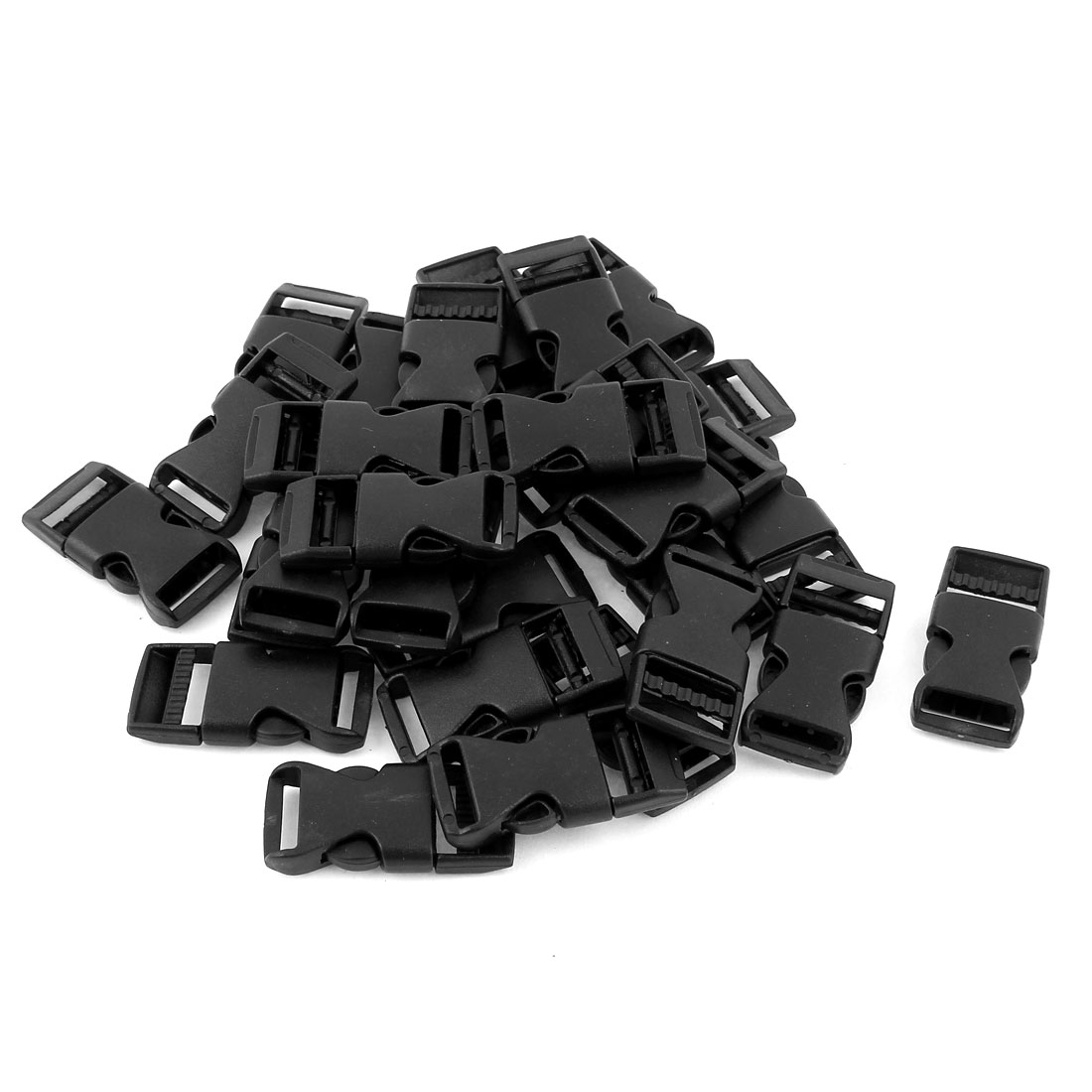 """30 Pcs 5/8"""" Webbing Straps Plastic Luggage Clasp Side Quick Release Buckle Black"""