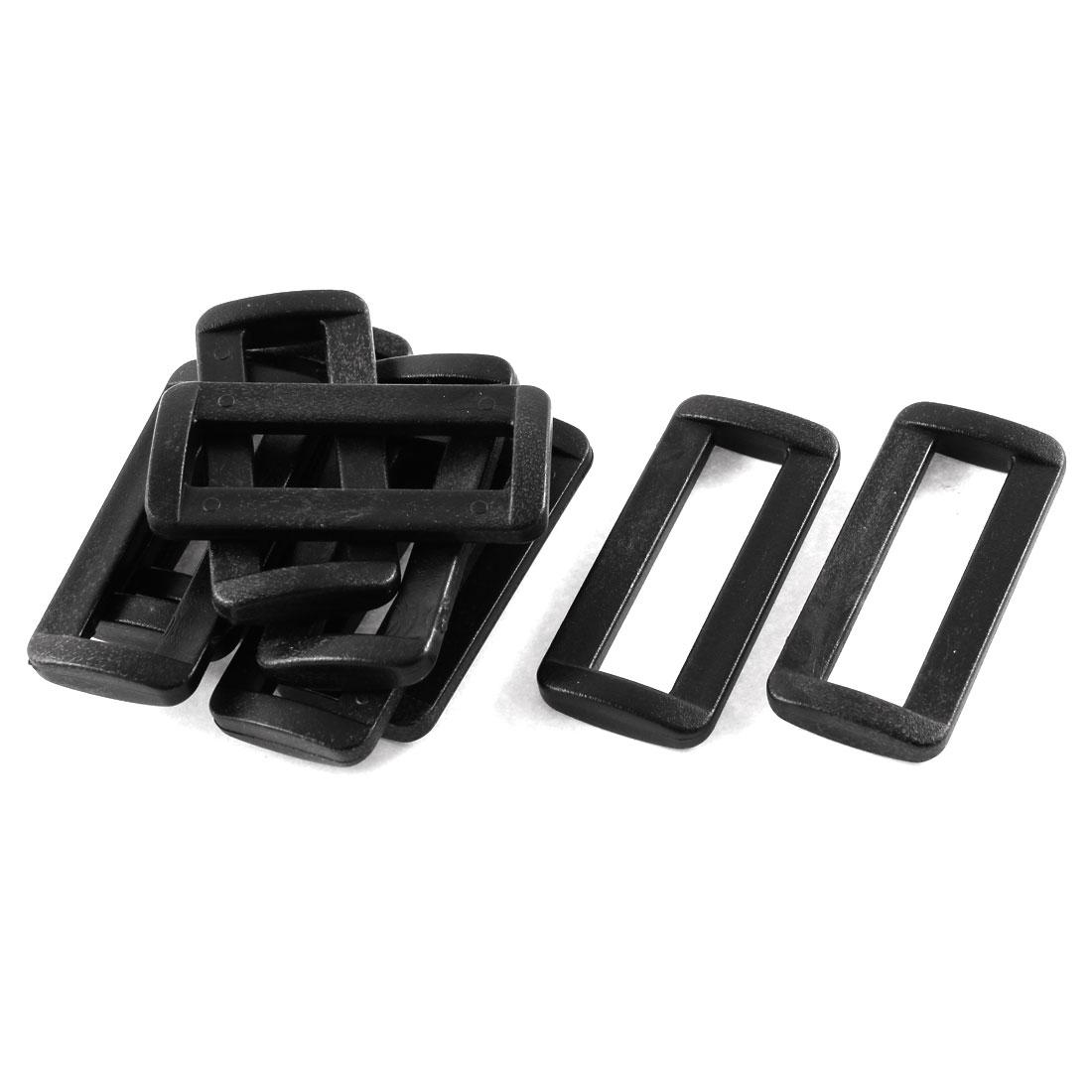 10pcs Black Plastic Bar Slides Buckles for 38mm Webbing Strap