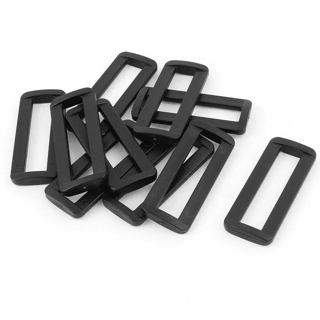 10 Pcs Black Plastic Bag Bar Slides Buckles for 50mm Webbing Strap