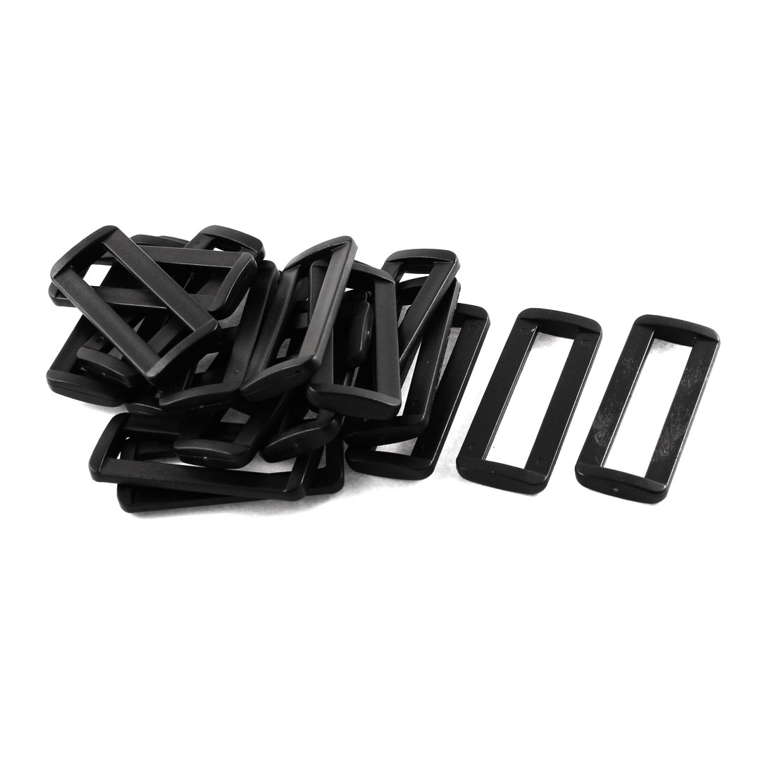 20pcs Black Plastic Bag Bar Slides Buckles for 50mm Webbing Strap