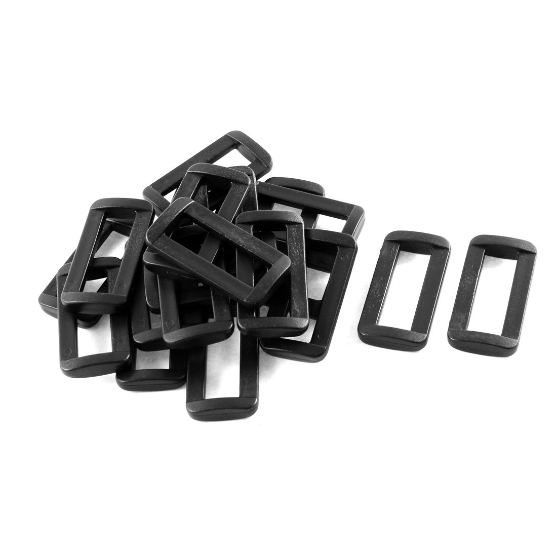 20pcs Black Plastic Bar Slides Buckles for 3.2cm Webbing Strap