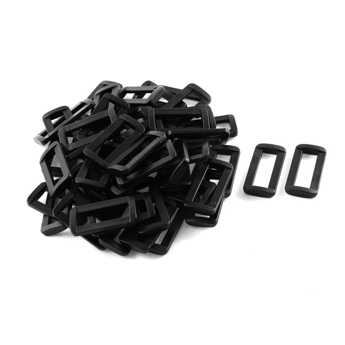 50pcs Black Plastic Bar Slides Buckles for 32mm Webbing Strap