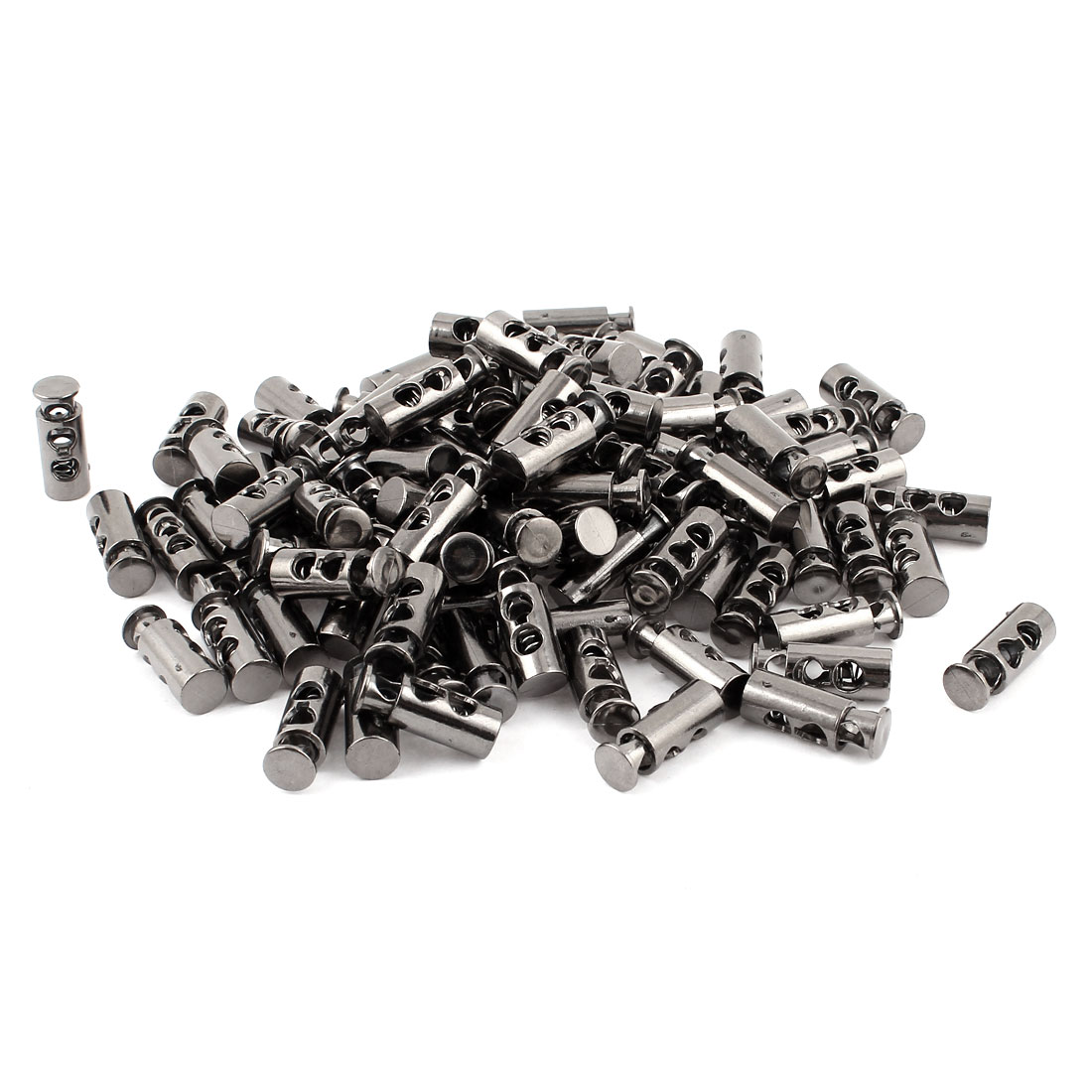 100 Pcs Tungsten Steel Gray Spring Loaded 5mm Dia Dual Holes Cord Locks Stoppers Toggles