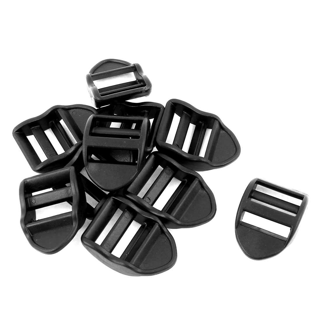 Plastic Ladder Slider Buckles Lock Black 20mm Strap Width 10 Pcs
