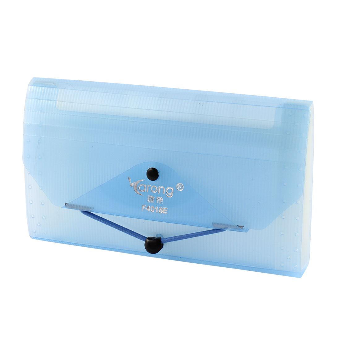 Elastic Strap Closure 13 Compartments Blue Plastic Expanding File Folder Bills Receipt Card Holder