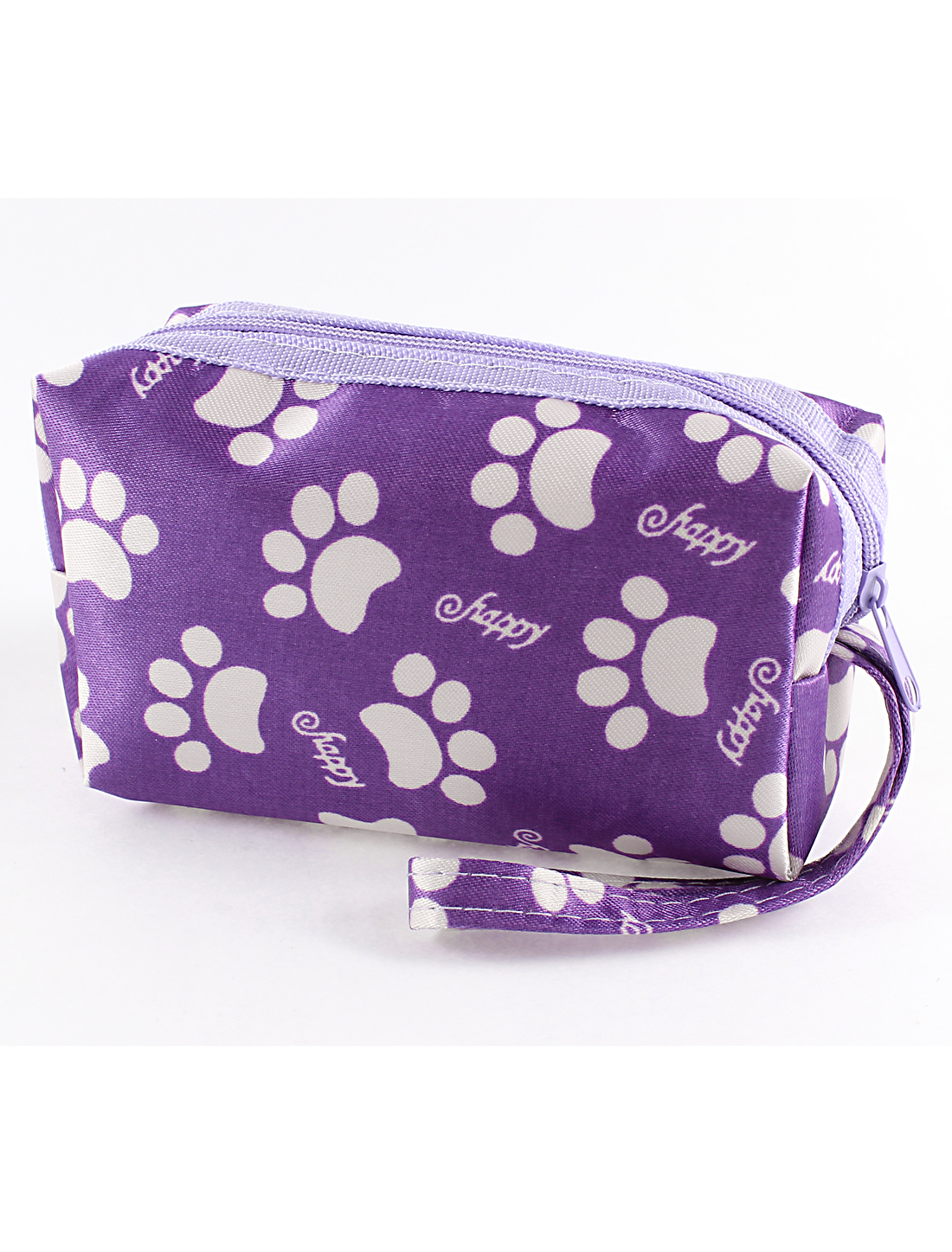 Purple White Paw Prints Hand Strap Zip Up Purse Bag Wristlet Coin Wallet Handbag for Lady