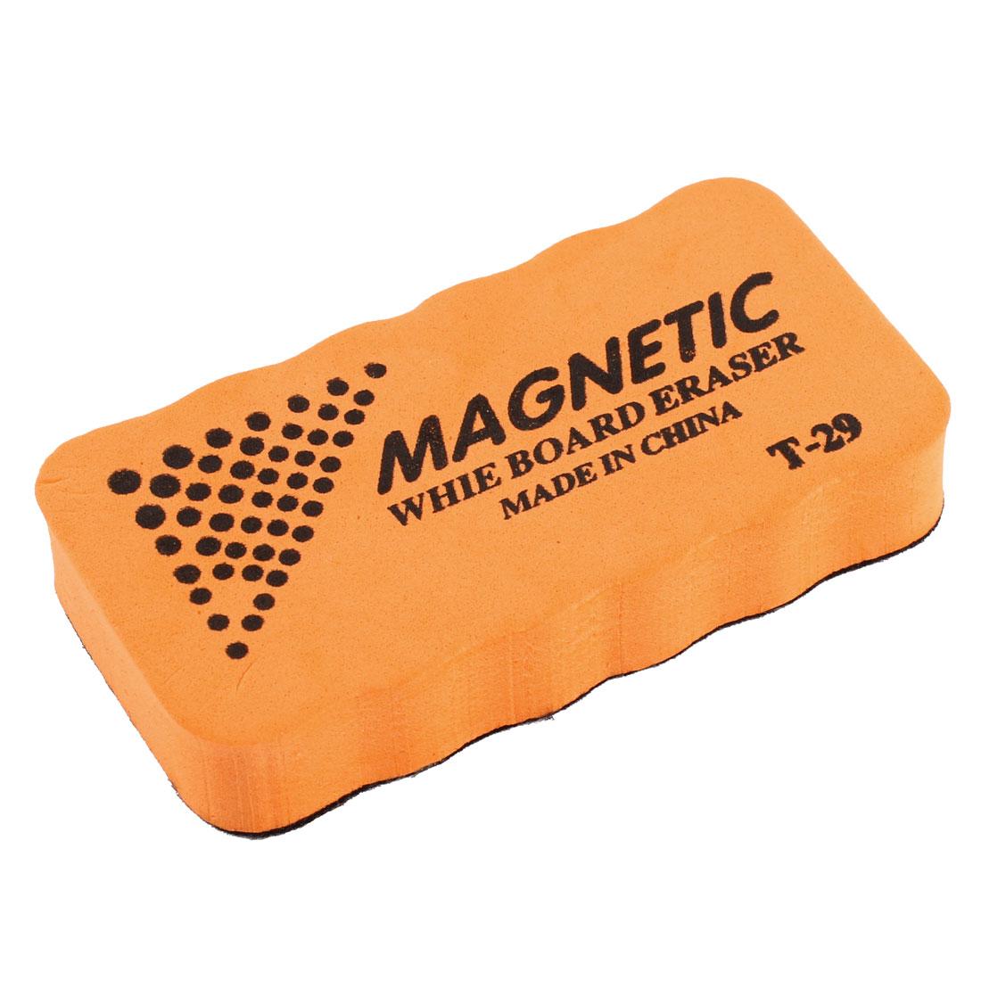 Orange Rectangle Magnetic Dry Wipe Whiteboard Eraser Marker Cleaner for School Office
